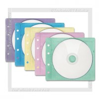 Конверт для 2 CD дисков с перфорацией, альбомный, mix 5 цветов, упаковка 50 шт