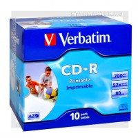 Диск Verbatim CD-R 700Mb (80 min) 52x AZO Printable jewel box