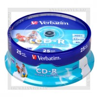 Диск Verbatim CD-R 700Mb (80 min) 52x AZO Printable cake box 25