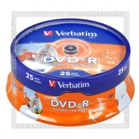 Диск Verbatim DVD-R 4,7Gb 16x Printable cake box 25