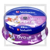 Диск DVD+R Verbatim 4,7Gb 16x Printable cake 25