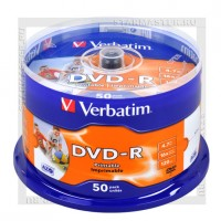 Диск Verbatim DVD-R 4,7Gb 16x Printable cake box 50