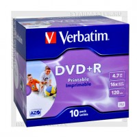 Диск Verbatim DVD+R 4,7Gb 16x Printable jewel box
