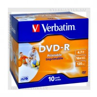 Диск Verbatim DVD-R 4,7Gb 16x Printable jewel box