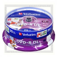 Диск Verbatim DVD+R DL 8,5Gb 8x Printable cake box 25