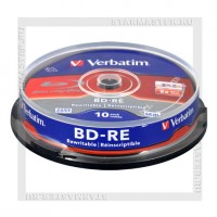 Диск BD-RE 25Gb Verbatim 2x cake 10