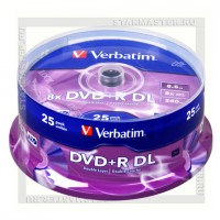 Диск Verbatim DVD+R DL 8,5Gb 8x cake box 25