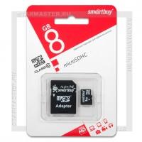 Карта памяти microSDHC 8Gb SmartBuy (Class 10, с адаптером)
