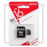 Карта памяти microSDHC 16Gb SmartBuy (Class 10, с адаптером)