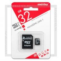 Карта памяти microSDHC 32Gb SmartBuy (Class 10, с адаптером)