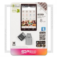 Накопитель USB/microUSB Flash 8Gb Silicon Power Mobile X10 OTG (USB 2.0)