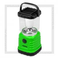 Светильник-фонарь кемпинговый SmartBuy 5 LED, 4W, аккумулятор, 4xAAA, солнечная батарея, зеленый