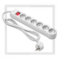 Сетевой фильтр DEFENDER DFS 601 6 розеток, 1.8м выкл., с заземлением, серый, 10А
