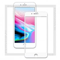 Защитное стекло Perfeo для Apple iPhone 8+, 2.5D Full, белое, 0.33мм (5328)