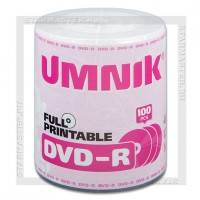 Диск DVD-R UMNIK 4,7Gb 16x Printable bulk 100