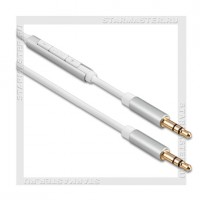 Кабель Audio Jack 3.5 мм (m) -- Jack 3.5 мм (m), 1м, REMAX Smart, пульт, белый