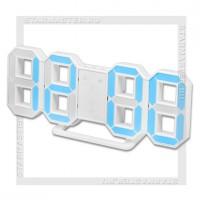 Часы-будильник Perfeo «LUMINOUS» LED, цифры 8х4,5 см, белый/синий