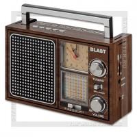 Радиоприемник BLAST BPR-912 с MP3, USB/microSD/SD, 220V/4xR20/аккумулятор, коричневый