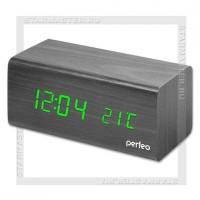 Часы-будильник Perfeo «BLOCK» LED, дата, температура, черный/зеленый