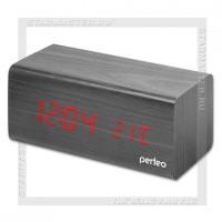 Часы-будильник Perfeo «BLOCK» LED, дата, температура, черный/красный