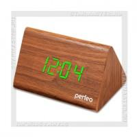 Часы-будильник Perfeo «PYRAMID» LED, дата, температура, коричневый/зеленый