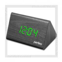Часы-будильник Perfeo «PYRAMID» LED, дата, температура, черный/зеленый