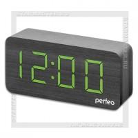 Часы-будильник Perfeo «WOOD» LED, дата, температура, влажность, черный/зеленый