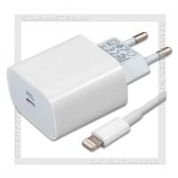 Зарядное устройство 220V -> USB-C Quick Charge/PD 3.0 3A HOCO C76A + кабель 8-pin, белый