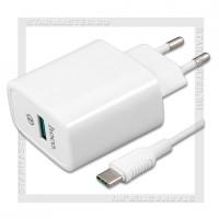 Зарядное устройство 220V -> USB Quick Charge/VOOC 3.0 5A HOCO C69A + кабель Type-C, белый