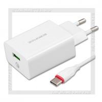 Зарядное устройство 220V -> USB Quick Charge 3.0 3A HOCO BF BA21A + кабель Type-C, белый