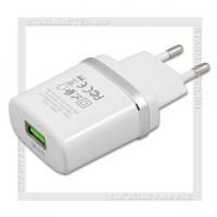 Зарядное устройство 220V -> USB Quick Charge 3.0 3A HOCO C12Q, белый