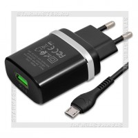 Зарядное устройство 220V -> USB Quick Charge 3.0 HOCO C12Q + кабель microUSB, черный