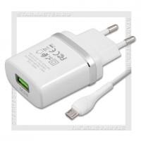 Зарядное устройство 220V -> USB Quick Charge 3.0 HOCO C12Q + кабель microUSB, белый