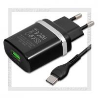 Зарядное устройство 220V -> USB Quick Charge 3.0 HOCO C12Q + кабель Type-C, черный