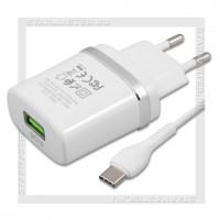 Зарядное устройство 220V -> USB Quick Charge 3.0 HOCO C12Q + кабель Type-C, белый